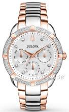 Bulova Diamond Hvit/Rose-gulltonet stål