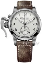 Graham Chronofighter Sølvfarget/Lær Ø42 mm