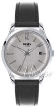 Henry London Piccadilly Sølvfarget/Lær Ø38.5 mm