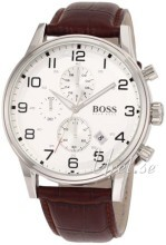 Hugo Boss Chronograph Sølvfarget/Lær