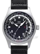IWC Pilots Worldtimer Sort/Lær Ø45 mm