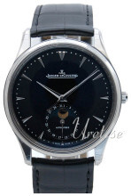 Jaeger LeCoultre Master Ultra Thin Moon Stainless Steel Sort/Lær