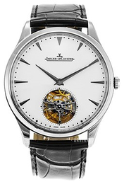 Jaeger LeCoultre Master Ultra Thin Tourbillon White Gold Sølvfarget/Lær Ø40 mm 1323420