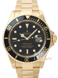 Rolex Submariner Sort/18 karat gult gull Ø40 mm 16618 B