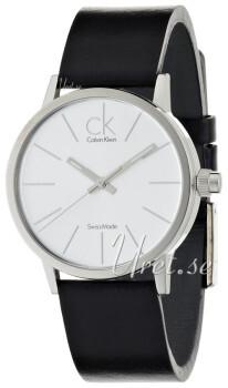 Calvin Klein Minimal Sølvfarget/Lær Ø34 mm
