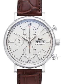 IWC Portofino Chronograph Sølvfarget/Lær Ø42 mm