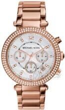 Michael Kors Parker Chronograph Glitz Hvit/Rose-gulltonet stål