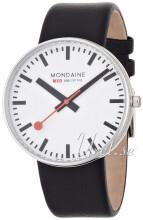 Mondaine Hvit/Lær Ø42 mm