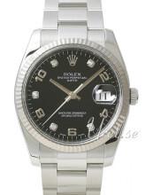 Rolex Perpetual Date Sort/Stål Ø34 mm