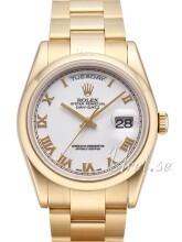Rolex Day-Date 36 Hvit/18 karat gult gull