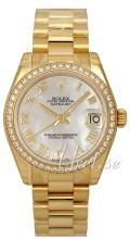 Rolex Datejust 31 Hvit/18 karat gult gull