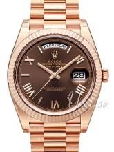 Rolex Day-Date 40 Brun/18 karat rosé gull