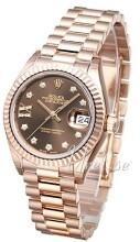 Rolex Lady-Datejust 28 Brun/18 karat rosé gull