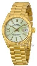Rolex Lady-Datejust 28 Grønn/18 karat gult gull