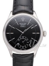 Rolex Cellini Dual Time Sort/Lær Ø39 mm