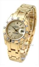 Rolex Lady Datejust Pearlmaster Champagnefarget/18 karat gult gu