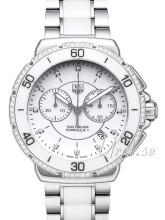 TAG Heuer Formula 1 Steel And Ceramic Chronograph Diamonds Hvit/