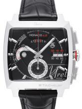 TAG Heuer Monaco Calibre 12 Ls Automatic Chronograph Sort/Lær 40