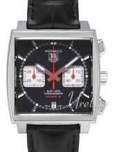 TAG Heuer Monaco Calibre 12 Automatic Chronograph Sort/Lær 39x39
