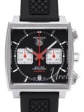 TAG Heuer Monaco Calibre 12 Automatic Chronograph Sort/Gummi 39x
