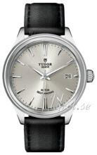 Tudor Style Sølvfarget/Lær Ø38 mm